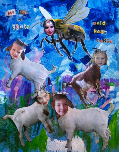 collage painting kids and goats