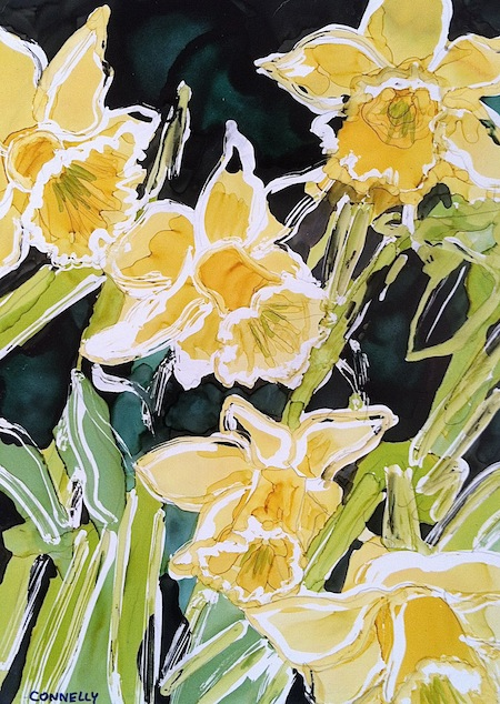 Spring is Finally Here Daffodils and Apple Blossom Paintings.