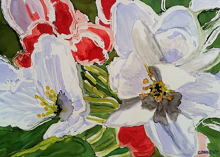 Spring is finally here! Apple Blossom and Daffodil paintings.
